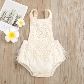 Solid Lace and Mesh Decor Sleeveless Baby Romper
