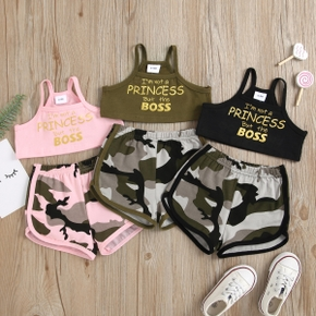100% Cotton 2pcs Letter and Camouflage Print Sleeveless Baby Set