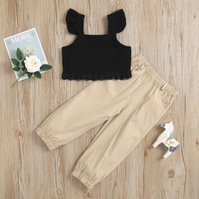 2-piece Toddler Girl Ruffled Lace Black Tan Top and Elasticized Solid Pants with Pocket Set
