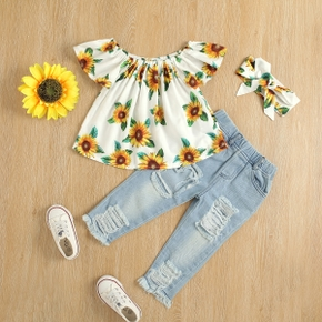 3-piece Toddler Girl Floral Sunflower Print Flounce Top, Ripped Denim Pants Jeans  and Headband Set
