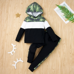 2-piece Baby / Toddler Striped Dinosaur Long-sleeve Hooded Pullover and Pants Set