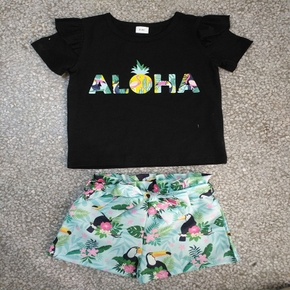 2-piece Baby / Toddler Fruit Pineapple Tee and Floral Shorts Set