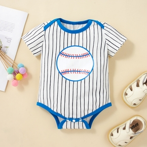 Stripe and Baseball Pattern Short-sleeve Baby Romper
