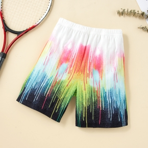 Fashionable Kid Boy Hand Painted Color Block Elasticized Pants Shorts