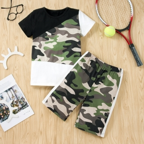 Fashionable Kid Boy Camouflage Colorblock Sporty Casual Set