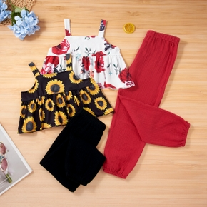 Fashionable Sunflower Allover Top and Solid Pants Set
