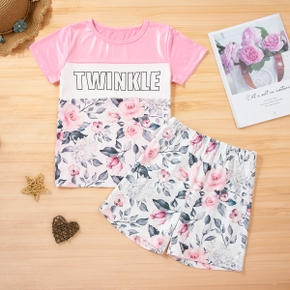 Kid Girl Colorblock Letter Floral Print Top and Shorts