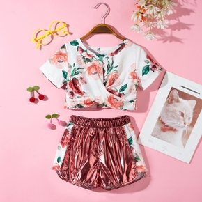 Fashionable Kid Girl Floral Print Top Shiny Shorts 2-piece Casual Set