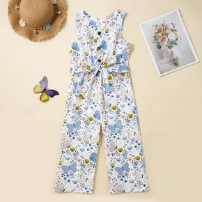 Kid Girl 100% Cotton Floral Butterfly Print Sleeveless Jumpsuit with Belt