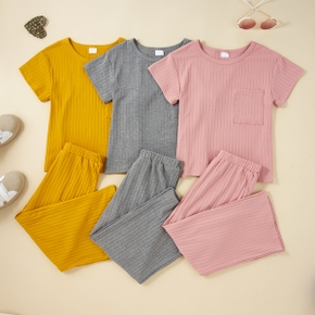 2-piece Kid Girl Stripe Solid Short-sleeve Top and Elasticized Pants Set with Pockets