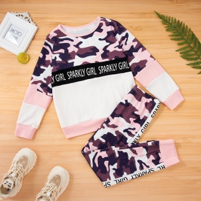 2-piece Kid Girl Letter Camouflage Print Color block Long-sleeve Top and Elasticized Pants Set