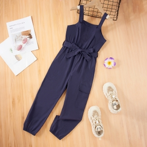 Kid Girl 100% Cotton Button Design Solid Overalls with Pocket & Belt