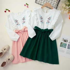 Kid Girl 100% Cotton Floral Embroidery Ruffled Bowknot Design Long-sleeve Splice Dress