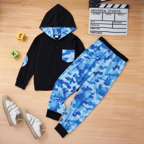 2-piece Kid Boy Blue Camouflage Print Hoodie with Pocket and Blue Camouflage Pants Set