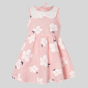 Baby Girl Floral Allover Ruffle Collar Sleeveless Dresses