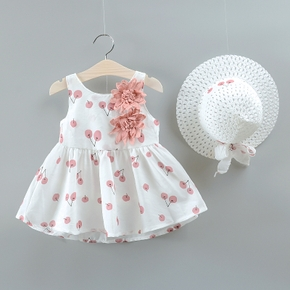 2-piece Baby / Toddler Fruit Apple Cherry Allover Flower Applique Dress and Hat Set