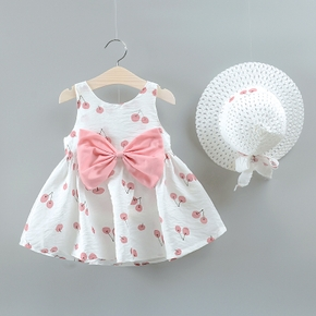 2-piece Baby / Toddler Fruit Apple Cherry Allover Bow Decorative Dress and Hat Set