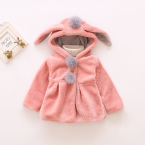 Baby / Toddler Girl Adorable Bunny Ear Decor Pompon Solid Fleece Warm Hooded Coat