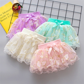 Baby Sweet Flower Embroidered Mesh Skirt
