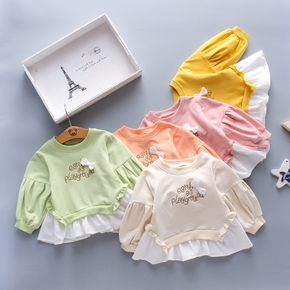 1pc Baby Girl Long-sleeve Cotton casual Letter Pullovers & Hoodies