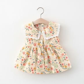 1pc Baby Girl Sleeveless Lapel Collar Floral Print Dress