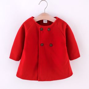 Solid Double Breasted Long-sleeve Baby Coat Cloak