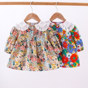 Baby Multicolor All Over Sunflower Floral Print Long-sleeve Dress