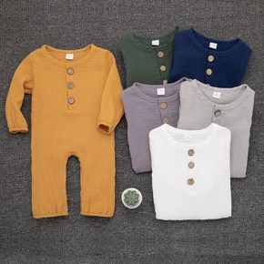 Crepe Solid Long-sleeve Baby Jumpsuit