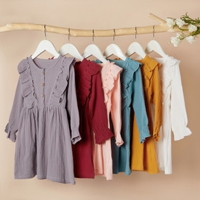 Baby / Toddler Casual Solid Ruffled Dresses