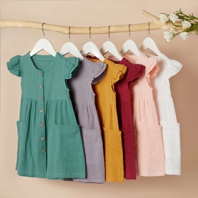 Baby / Toddler Girl Casual Solid Flutter-sleeve Linen Dress