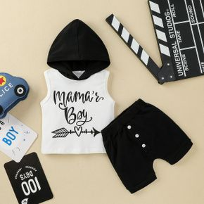 2pcs Baby Boy Hooded Sleeveless Letter Print Cotton Baby's Sets