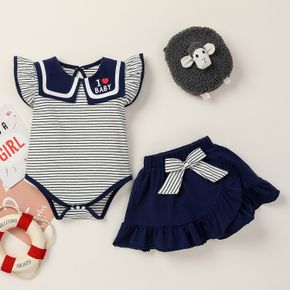 2pcs Baby Girl Ruffle-sleeve Heart-shaped Stripes Letter Print Cotton Baby's Sets