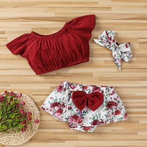 3pcs Solid Red and Floral White Baby Set