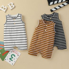 Stripe Print Sleeveless Baby Romper