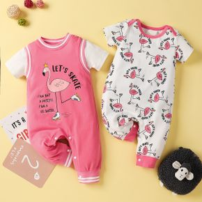 Flamingo Print Short-sleeve Baby Jumpsuit