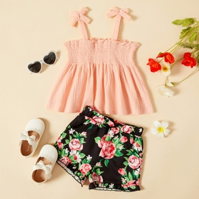 2-piece Toddler Girl Casual Camisole and Floral Print Shorts Set