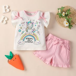 2-piece Toddler Girl Unicorn Rainbow Letter Print Top and Casual Shorts Set