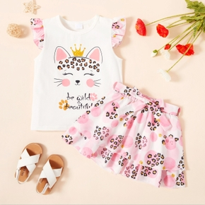 2-piece Toddler Girl Cat Letter Print Top and Leopard Print Skirt Set