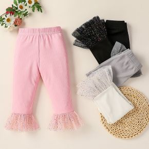 Ribbed Solid Mesh Splice Baby Pants