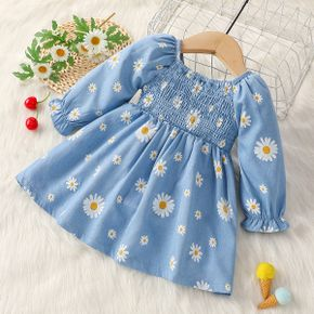 Shirred Floral Allover Long-sleeve Blue Baby Dress