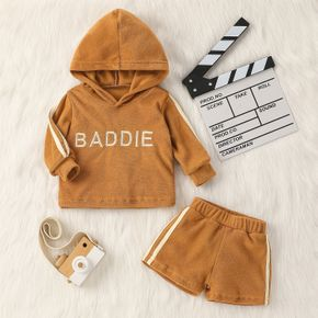 2pcs Letter Print Hooded Long-sleeve Brown Baby Set
