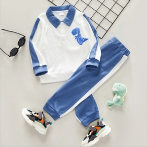2-piece Toddler Boy Dinosaur Embroidery Lapel Collar Color block Long-sleeve Top and Pants School Sporty Set