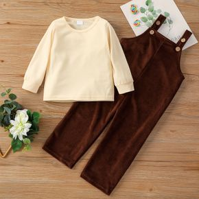 2-piece Toddler Girl/Boy Round-collar Long-sleeve Solid Top and Button Design Solid Corduroy Overalls Set