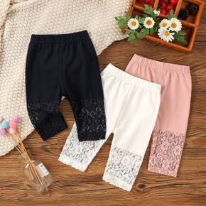 Solid Lace Splicing Elasticized Baby Leggings