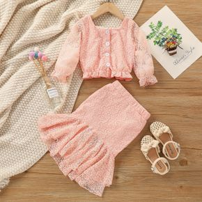 2-piece Toddler Girl Lace Square Neck Button Design Ruffle Blouse and Mermaid Skirt Set
