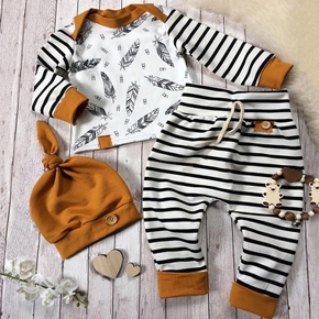 100% Cotton 3pcs Stripe and Feather Print Long-sleeve Baby Set