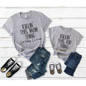 Mommy and Me Square neck Letter Grey Short Sleeve Matching Tops
