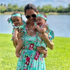Mosaic Summer New 2-Piece Bohemia Rose Print  Romper ,Dress and headband for Mom and Me