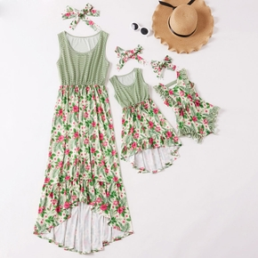 Floral Splice Stripe Print Tank Dresses with Headband for Mommy and Me