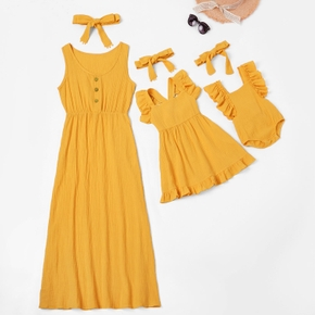 Mosaic Solid Color Matching Yellow Maxi Dresses
